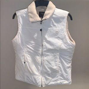 AE white Sherpa vest